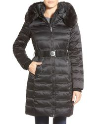 DKNY | Black Faux Fur Trim Belted Quilted Down & Feather Fill Coat | Lyst