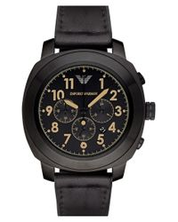 Emporio Armani | Black Chronograph Leather Strap Watch for Men | Lyst