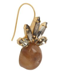 Marni - Metallic Goldplated Swarovski Crystal and Horn Earrings - Lyst