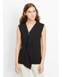 Vince | Black Zip Neck Laser Cut Sleeveless Top | Lyst