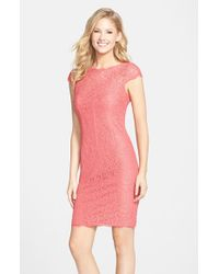 Adrianna Papell - Pink Seam Detail Lace Cocktail Dress - Lyst