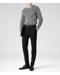 Reiss - Black Peak Contrast Weave Jumper for Men - Lyst
