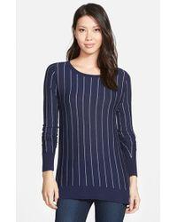 Halogen - Blue Side Zip Sweater - Lyst