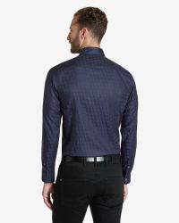 Ted Baker - Blue Dogtooth Print Shirt for Men - Lyst