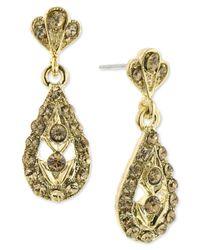2028 | Metallic Gold-tone Light Colorado Stone Teardrop Earrings | Lyst