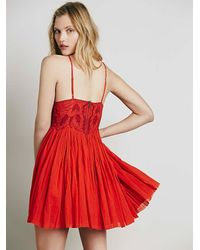 Free People - Red Earth Angel Mini Dress - Lyst
