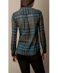 Burberry | Blue Check Cotton Smock Shirt | Lyst