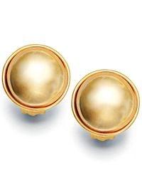Lauren by Ralph Lauren - Metallic Gold Glass Pearl Button Clip On Earrings - Lyst