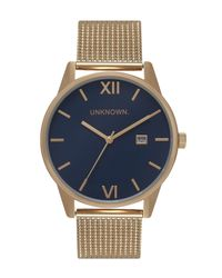 Unknown | Metallic The Dandy Navy And Gold Mesh Watch for Men | Lyst