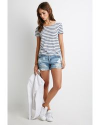 Forever 21 | Natural Lace-paneled Stripe Tee | Lyst