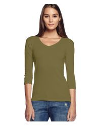 Michael Stars | Green Shine Middle Sleeve V-neck Tee | Lyst