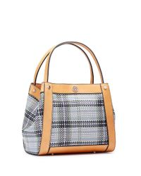 Tory Burch - Multicolor Woven Leather Small Tote - Lyst