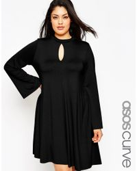 ASOS - Black Swing Dress With Keyhole Detail & Flared Sleeve - Lyst