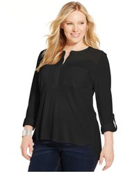 INC International Concepts | Black Plus Size High-low Illusion Blouse | Lyst