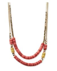 Aéropostale | Metallic Bead Mix Layered Long-strand Necklace | Lyst