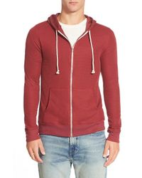 Threads For Thought - Red Waffle Knit Thermal Zip Hoodie for Men - Lyst