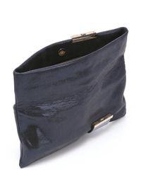 Jimmy Choo - Blue Ink Leather Crystal Detail 'chandra' Clutch - Lyst