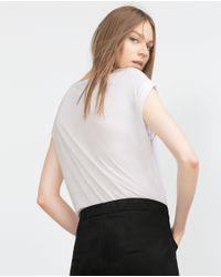 Zara | White Letter T-shirt | Lyst
