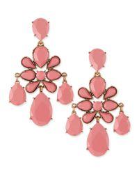 Oscar de la Renta   Faceted Chandelier Clipon Earrings Pink   Lyst