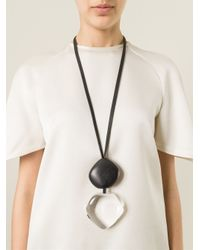 Monies - Black Oversized Pendant Necklace - Lyst