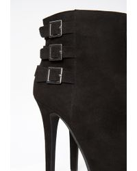 Forever 21 - Black Buckled Faux Suede Booties - Lyst