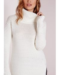 7733061dba Missguided Knitted Chunky Turtle Neck Jumper Cream in White - Lyst