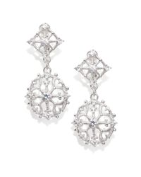Judith Ripka | Metallic White Sapphire Sterling Silver Lace Drop Earrings | Lyst