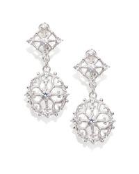 Judith Ripka - Metallic White Sapphire Sterling Silver Lace Drop Earrings - Lyst