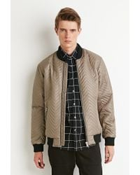 Forever 21 | Natural Chevron-patterned Bomber Jacket for Men | Lyst