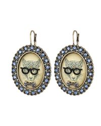 Betsey Johnson | Blue Cameo Critters Leopard Large Oval Drop Earrings | Lyst