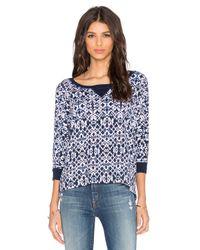 Splendid | Blue Ikat Print Sweatshirt | Lyst