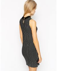 ASOS - Black Turtle Neck Dress In Knit With Vertical Stripe - Lyst