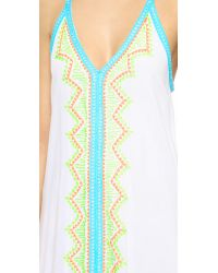 One By - White Printed Beach Maxi Dress - Lyst