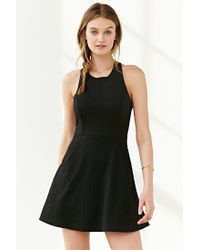 Silence + Noise - Black Cross-back Textured Knit Dress - Lyst