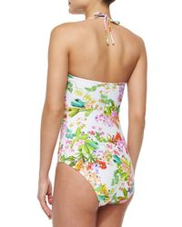 Shoshanna - Multicolor Twisted Floral-print One-piece Swimsuit - Lyst