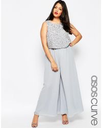 27fadc2e755b Lyst - ASOS Premium Jumpsuit With Palazzo Pants And Embellished ...