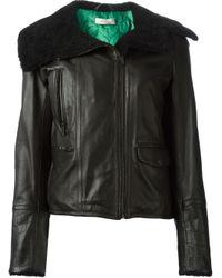 Paul Smith - Black Shearling Collar Biker Jacket - Lyst