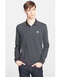 Moncler | Gray Tipped Long Sleeve Polo for Men | Lyst