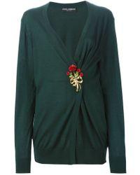 Dolce & Gabbana - Green Brooch Cardigan - Lyst