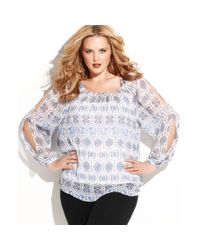 INC International Concepts - White Plus Size Longsleeve Cutout Printed Top - Lyst