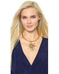 Oscar de la Renta - Metallic Starburst Necklace - Pearl - Lyst
