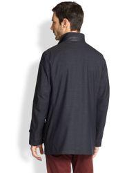 Canali Blue Wool Melange Jacket for men