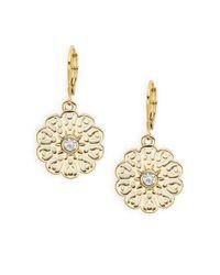 kate spade new york | Metallic Strike Gold Flower Drop Earrings | Lyst