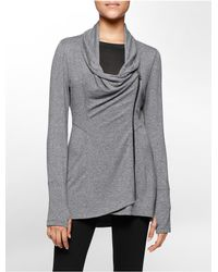 Calvin Klein | Gray White Label Performance Asymmetrical Zip High Low Jacket | Lyst