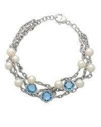 Lord & Taylor | Sterling Silver Pearl And Blue Topaz Bracelet | Lyst