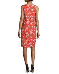 Carolina Herrera - Orange Sleeveless Insect-print Sheath Dress - Lyst