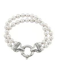 Lagos - White Luna Pearl Double-strand Bracelet - Lyst