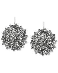 Kenneth Cole   Metallic Silver-Tone Hematite Woven Bead Drop Earrings   Lyst