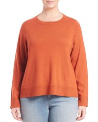 Eileen Fisher - Orange Bateau-neck Boxy Sweater - Lyst