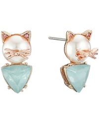 Betsey Johnson | Blue Pearl Critters Cat Stud Earrings | Lyst